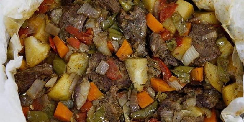 ورقة اللحم بالخضار بدون فرن