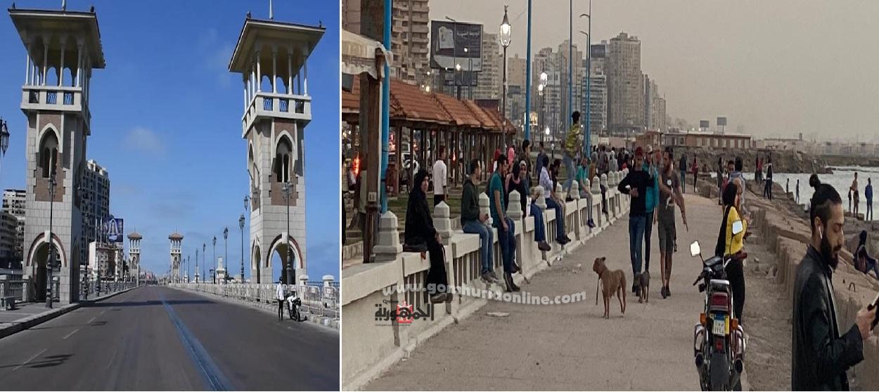 الزحام بكورنيش الاسكندرية بعد 48 ساعة من شم النسيم الامرالذى يهدد بأنتشاركورونا