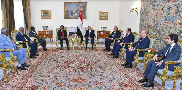 اجتماع السيد الرئيس مع الرئيس الصومالي على هامش قمة السودان التشاورية