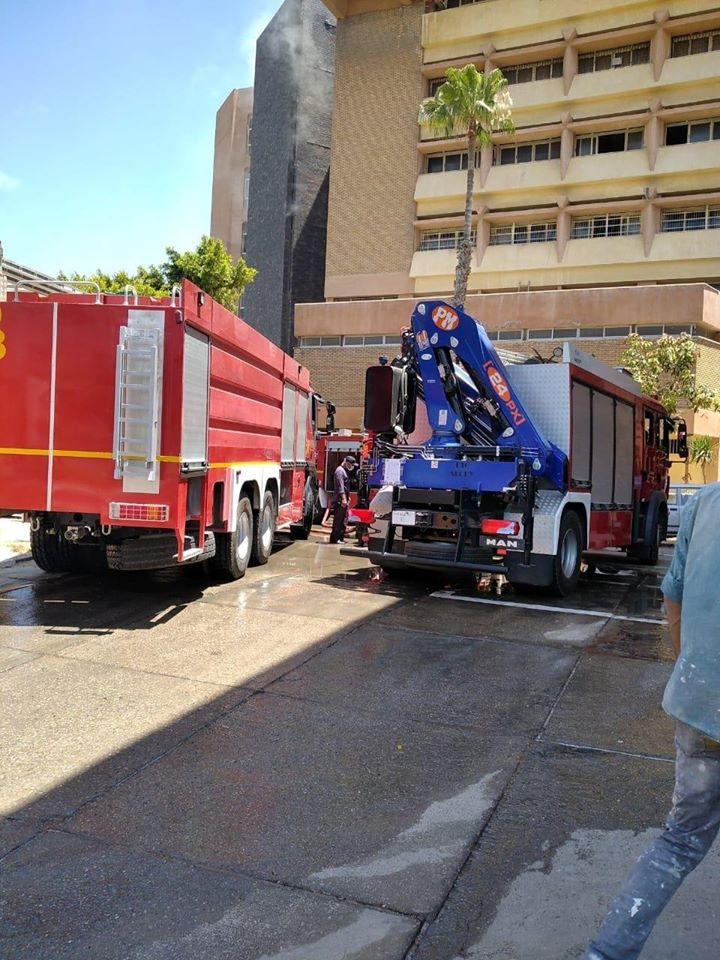 حريق محدود بالمكتبة المركزية بجامعة الاسكندرية