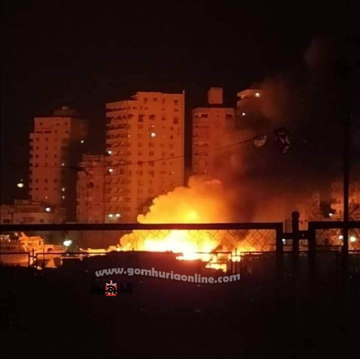 حريق بمنطقة ورش اليخوت ببحرى
